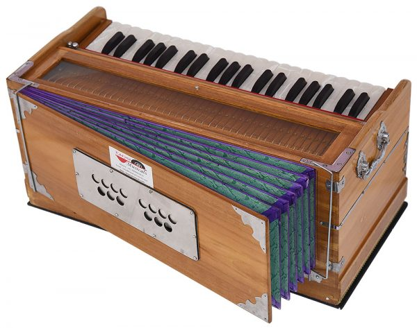 Harmonium Teak Wood By Kaayna Musicals, 9 Stops- 5 Main & 4 Drone, 3½  Octaves, Coupler, Natural Wood Color, Gig Bag, Bass/Male Reed- 440 Hz,  Suitable